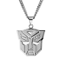 Transformers Stainless Steel Autobot Pendant Necklace - Men (Grey)