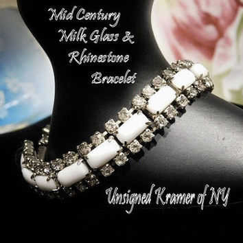 Vintage Milk Glass Rhinestone Bracelet Mid Century Hollywood Unsigned KRAMER of New York NY Milk Glass Lozenge Bracelet Wedding Bride Bridal