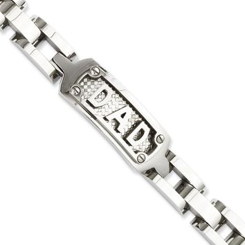 Men's Stainless Steel Embossed DAD I.D. Bracelet, 8.5 Inch