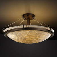 Justice Design Group PNA-9682-35-BMBO-DBRZ-LED-5000 Porcelina Ring 24-Inch Six-Light Dark Bronze Round 5000 Lumen LED Semi-Flush Mount With Ring