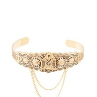 Gold Thunderbird & Chain Cuff Bracelet by Charlotte Russe