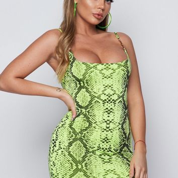 Electric Python Bodycon Mini Dress