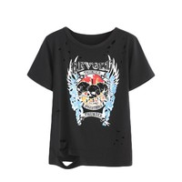 Black Skull Pattern T-shirt - Rock Party Women Top - Print Women Fashion Round Neck Short Sleeve Ripped