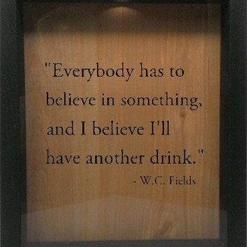 "Wooden Shadow Box Wine Cork/Bottle Cap Holder 9""x11"" - Everybody has to Believe in Something"