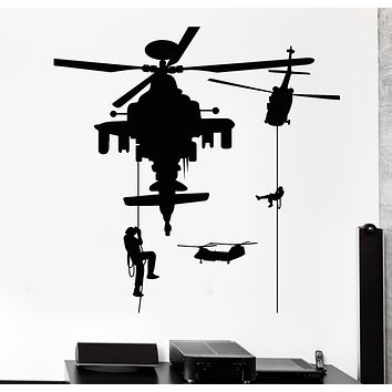 Vinyl Wall Decal Soldiery Helicopter Military War Stickers Mural (g219)