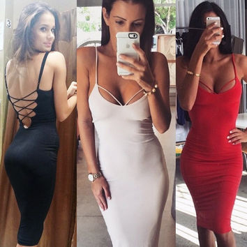 Backless Bandages Dress Sexy Spaghetti Strap Club One Piece Dress [11545799503]