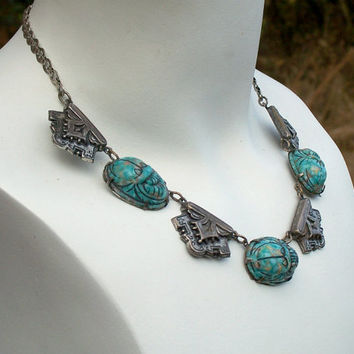 Vintage Egyptian Revival Scarab Necklace Silver Blue Glass 1920's