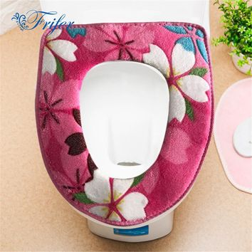 1Pc/Set Bathroom Flower Print Fleece Warmer Toilet Set Zipper Potty Waterproof Toilet Seat Cushion Bath Mat Toilet Seat Cover