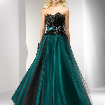 Real Sample Ball Gown Strapless Black Tulle Over Satin Long Peacock Feather Prom Dress robe de soiree vestido de festa 2016