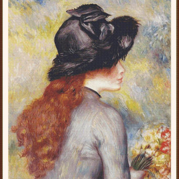 Young girl holding at bouquet of tulips  by Pierre Auguste Renoir CROSS STITCH PATTERN 786