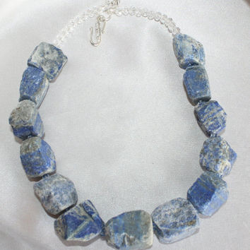 Raw Lapis Lazuli Statement Necklace, Natural Gemstone Lapis Lazuli Rough Cut Nugget Necklace, Chunky Lapis Statement Necklace, Bold Necklace