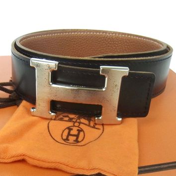 Authentic HERMES Vintage H Buckle Constance Reversible Belt Black Brown JT03318