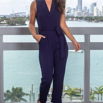 Navy Jumpsuit with Tie Waist