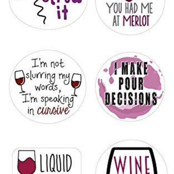 Wine Glass Markers   Set of 12 Static Cling REUSABLE Stickers   Funny Wine Theme Party Supplies   Unique Alternative to Wine Charms
