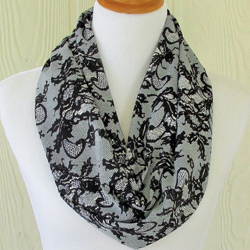 Short Infinity Scarf, Women's Chiffon Scarf, Black Lace Motif, Circle Scarf, Loop Scarf, Tube Scarf , Women's Scarves, Eclectasie