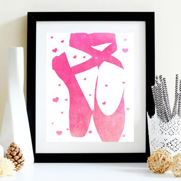 Pink Ballerina Slippers Print - Instant Download - Printable Wall Art - Ballet Dancer - Nursery Art - Room Decor - Ballerina Art