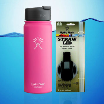 Hydro Flask 18 Oz Wide Mouth Insulated Water Bottle Pink With Hydro Flip + Straw Lid