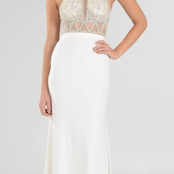 Off White Halter Beaded Top Sheer Midriff Fit and Flare Long Prom Dress