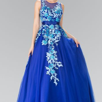 Floral accent ball gown quinceanera dress gl2252