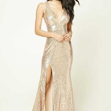 Sequined V-Neck Maxi Dress
