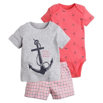 New arrive 2018 toddler baby boy summer clothing set kids boy clothes set bodysuit + T shirt + shorts baby boy clothing newborn