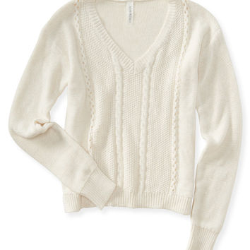 Aeropostale  Solid Cable-Knit V-Neck Sweater