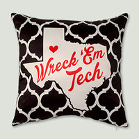 Wreck 'Em Tech Texas Silhouette Pillow