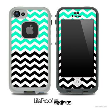 Trendy Green and Black Chevron Pattern Skin for the iPhone 5 or 4/4s LifeProof Case