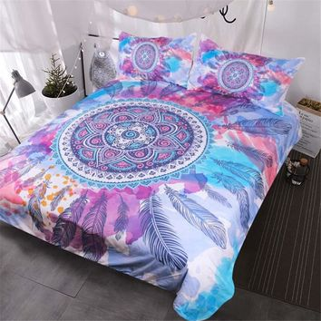 Blessliving Psychedelic Bedding Mandala Feathers Bed Set Pink Blue Purple Watercolor Hippy Duvet Cover Bohemian Bedclothes