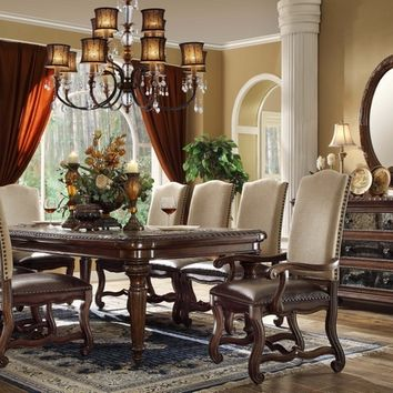 7 pc Monaco collection dark finish wood dining table set with linen back chairs with nail head trim