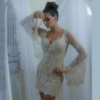 Light Champagne Short Cocktail Dresses Full Sleeve Lace V Neck Backless Tulle Beaded Mini Women Party Gowns