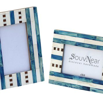 Prime Sale - Picture / Photo Frame - SouvNear Wooden Aqua Blue White Picture Photo Frame for 4x6 Horizontal / Vertical Pictures - Home Decor