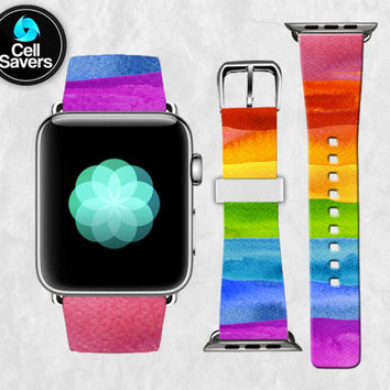 Rainbow Watercolo Paint Stripes Tumblr Inspired New Apple Watch Band Leather Strap iWatch for 42mm and 38mm Size Metal Clasp Watch Print