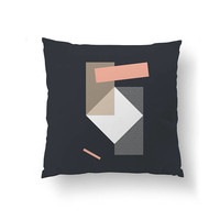 Pink Dark Blue, Geometric Shapes, Abstract Design, Cushion Cover, Decorative Pillow, Textured Pillow, Mid Century, Throw Pillow, Home Decor