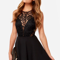 Black Mesh Lace Splice Backless Sleeveless Skater Black Dress