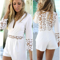 Rosalie Bay Ivory Quarter Sleeve Lace Cut Out Romper – Amazing Lace