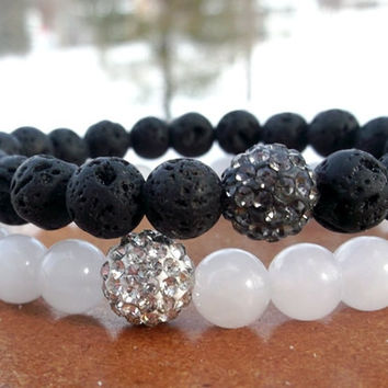 White and Black Pave Stacked Bracelet Set