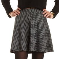 Textured Chevron Skater Skirt by Charlotte Russe - Black/Gray