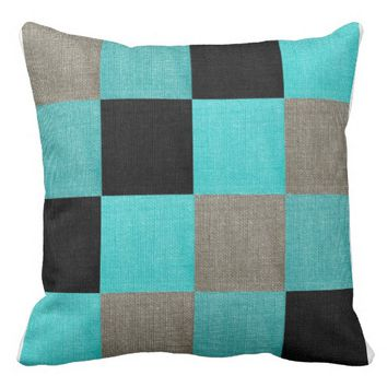 Teal, Gray, Black Block Accent Pillow
