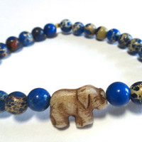 Lapis Blue Magnesite Beaded Bracelet with Elephant