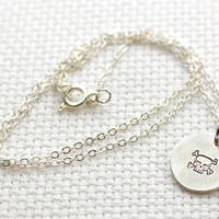 Dainty silver skull and crossbones disc charm necklace - CM760 - sterling silver