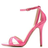 Neon Pink Single Sole Ankle Strap Heels by Charlotte Russe