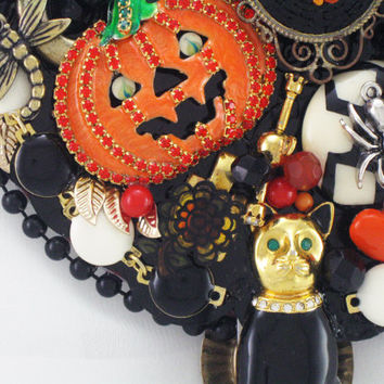 Hand Mirror - Recycled Halloween Whimsy - Upcycled Jewelry - M000776