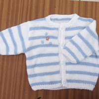 Handknitted Baby Cardigan, Blue and White Cardigan, UK Seller