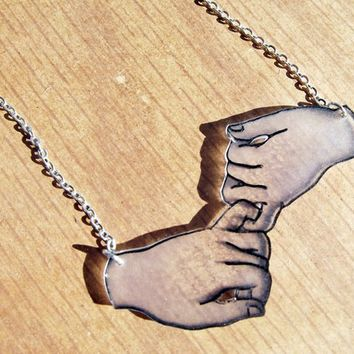 Pinky Swear hand-drawn Acrylic pendant necklace - Pinky promise