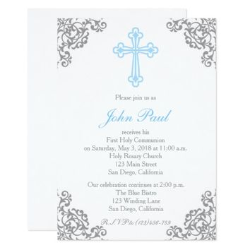 Modern Elegant Cross First Communion Invitation