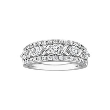 "JewelMore Diamond ""X"" Style Wedding Band in 14K White Gold (1 cttw G-H-I / I1-I2)"