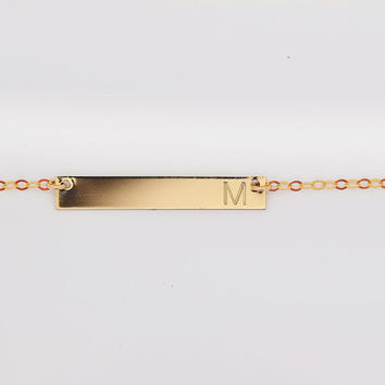Initial Bar Necklace, 14k Gold Filled Bar Necklace, Nameplate Necklace Bar, Bar Necklace Horizontal, Engraved Bar Necklace, Gold Bar, 4x30
