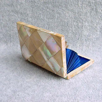"""Victorian English Card Case Mother Of Pearl Parquet 4"""" Antique Accordion Baffle Calling Business Dancer Card Holder MOP 4 1/4"""" by 2 3/4"""""""