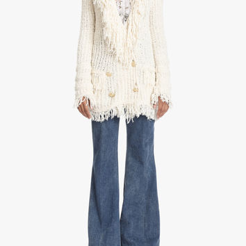 Double-breasted cardigan with fringe | Women's cardigans | Balmain